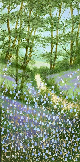 Bluebell Woodland Walk by Mary Shaw - Original Painting on Board